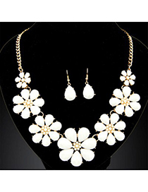 Revealing beige gemstone decorated flower design alloy Jewelry Sets