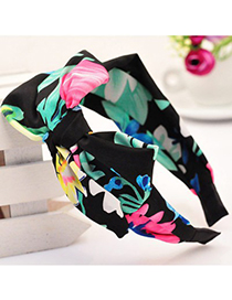 Glossy multicolor bowknot decorated printed design fabric Hair band hair hoop
