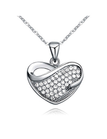 Direct white diamond decorated heart shape design zircon Crystal Necklaces