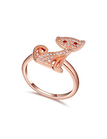 Afrocentri white & rose gold diamond decorated cat shape design zircon Crystal Rings