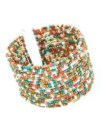 Tapered multicolor beads decorated multi-layer design alloy Fashion Bangles
