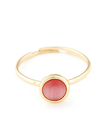 Tie light red opal decorated simple design alloy Korean Rings
