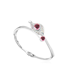 Lightest light plum red diamond decorated leaf shape design alloy Crystal Bracelets