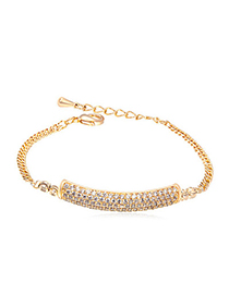 Art white & champagne gold diamond decorated rectangular shape design alloy Crystal Bracelets