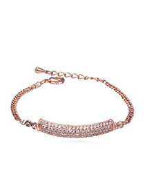 Awesome white & rose gold diamond decorated rectangular shape design alloy Crystal Bracelets