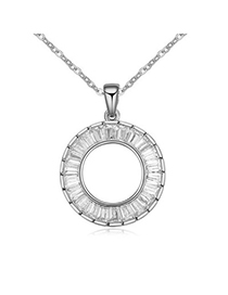Decorative White Round Pendant Simple Design Alloy Crystal Necklaces