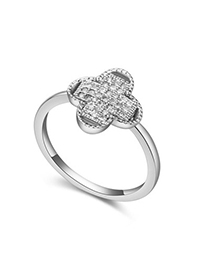 Tie White Diamond Decorated Clover Shape Design Zircon Crystal Rings