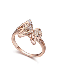 Volcom White & Rose Gold Diamond Decorated Butterfly Shape Design Zircon Crystal Rings