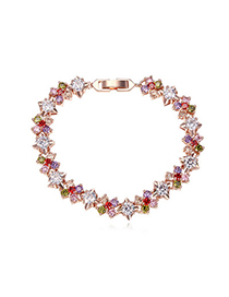 Active Multicolor & Rose Gold Diamond Decorated Flower Design Zircon Crystal Bracelets