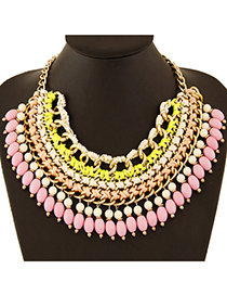 Celtic Pink Beads Weave Multilayer Design Alloy Bib Necklaces