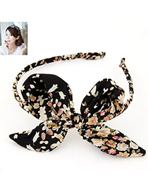 Unique Black Bowknot Decorated Flower Pattern Design Fabric Hair Band Hair Hoop