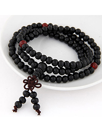Organic Black Beads Decorated Multilayer Design Wood Korean Fashion Bracelet