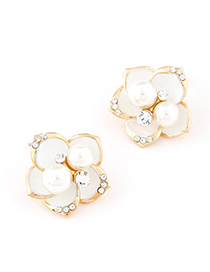Stretch White Pearl Decorated Flower Design Alloy Stud Earrings
