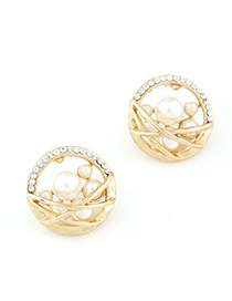 Collar Gold Color Diamond Decorated Round Shape Design Alloy Stud Earrings