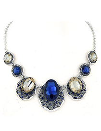 Vera Champagne Gold Gemstone Decorated Oval Shape Design Alloy Korean Necklaces