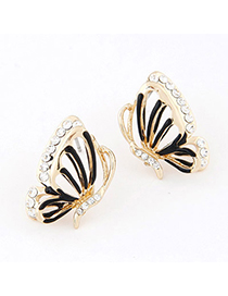 Hiking Black Diamond Decorated Butterfly Design Alloy Stud Earrings