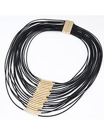 Embossed Black Multilayer Decorated Simple Design Alloy Bib Necklaces