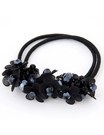 Mens Black Diamond Decorated Flower Design Rubber Band Hair band hair hoop