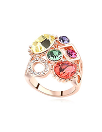Vellum Multicolor & Rose Gold Diamond Decorated Geometrical Shape Design Alloy Crystal Rings