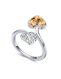African Gold Color Diamond Decorated Heart Shape Design Alloy Crystal Rings