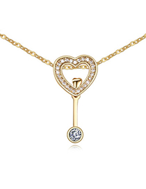 Autism White & Champagne Gold Diamond Decorated Heart Shape Pendant Design Alloy Crystal Necklaces