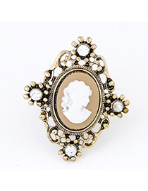 Charming Brown & Gold Colro Lady's Head Decorated Hollow Out Design Alloy Korean Rings