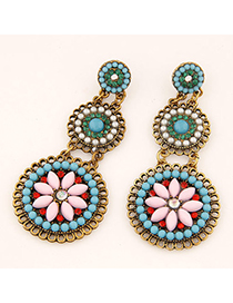 22K Pink Gemstone Decorated Flower Design Alloy Stud Earrings