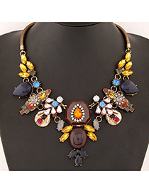 Hiking Brown Gemstone Decorated Geometrical Shape Design Alloy Fashion Necklaces