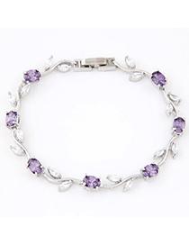 Pendants Purple Diamond Decorated Leaf Shape Design Zircon Crystal Bracelets