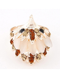 Peridot Champagne Gold Diamond Decorated Hedgehog Shape Design Alloy Korean Rings