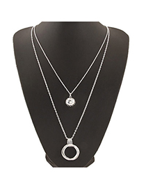 Concealed Silver Color Round Pendant Decorated Double Layer Design Alloy Chains