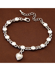Volcom Silver Color Diamond Decorated Heart Pendant Design Alloy Korean Fashion Bracelet