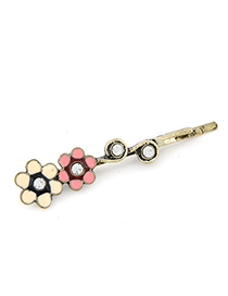 Cranes Pink Diamond Decorated Flower Design Alloy Hair clip hair claw