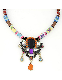 Uniform Multicolor Gemstone Decorated Geometrical Shape Pendant Design