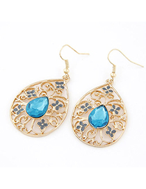 China Blue Gemstone Decorated Hollow Out Design Alloy Korean Earrings