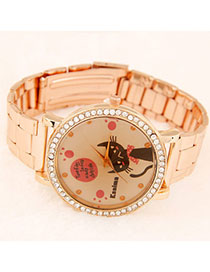 Flirty Rose Gold Diamond Decorated Cat Pattern Design Alloy Men's Watches