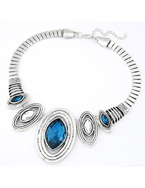 Stainless Navy Blue Oval Shape Decorated Simple Design Alloy Fashion Necklaces