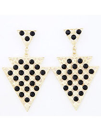 Expression Black Diamond Decorated Triangle Shape Design Alloy Stud Earrings
