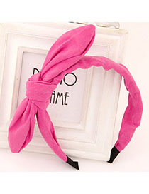 Vera Purple Red Pure Color Bowknot Shape Simple Design Fabric Hair Band Hair Hoop