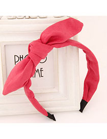 Splendid Watermelon Red Pure Color Bowknot Shape Simple Design Fabric Hair Band Hair Hoop