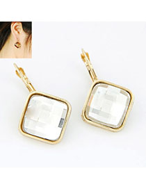 Postal White Square Shape Decorated Simple Design Alloy Stud Earrings