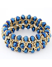 Promo Blue Multilayer Weave Design Alloy Fashion Bangles