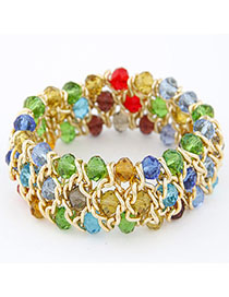 LegalJ154 Multicolor Multilayer Weave Design Alloy Fashion Bangles