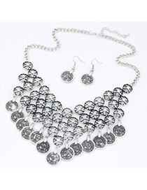 Expired Silver Color Flower Decorated Hollow Out Design Alloy Jewelry Sets