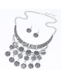 Pearl Silver Color Coin Shape Decorated Hollow Out Design Alloy Jewelry Sets