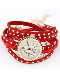 Packaging Red Rivet Decorated Multilayer Design Alloy Ladies Watches
