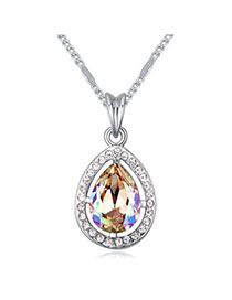Plated Luminous Green Diamond Decorated Waterdrop Pendant Design Alloy Crystal Necklaces