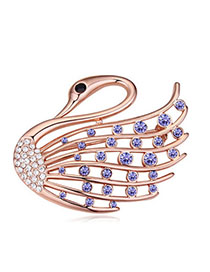 Kinetic Pinkish Purple Diamond Decorated Swan Shape Design Alloy Crystal Brooches
