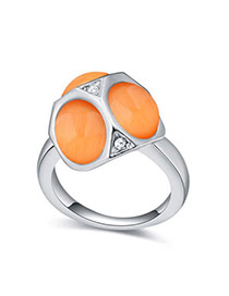 Milly Orange Geometrical Shape Decorated Simple Design Alloy Crystal Rings