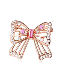Genuine Light Plum Red & Rose Gold Hollow Out Butterfly Shape Simple Design Alloy Crystal Brooches
